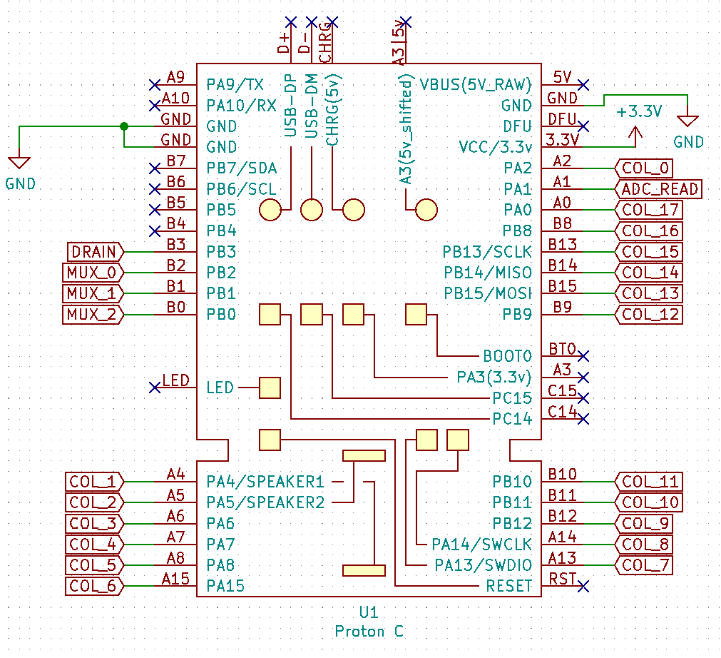 Schematic of the microcontroller portion of the circuit. There are pins labeled DRAIN, MUX_0, MUX_1, MUX_2, COL_1 through COL_17, and ADC_READ.